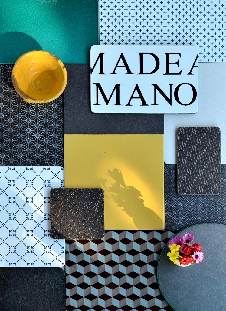 Made a mano håndlagede fliser i lavastein og terra cotta