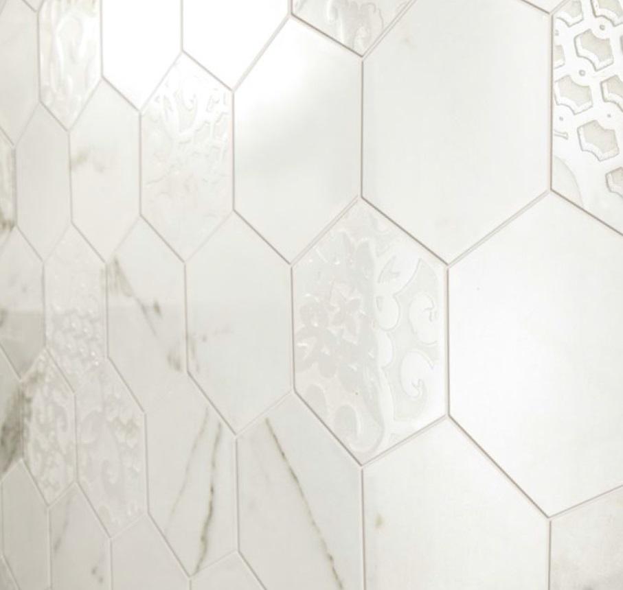 Hexagon fliser i marmor