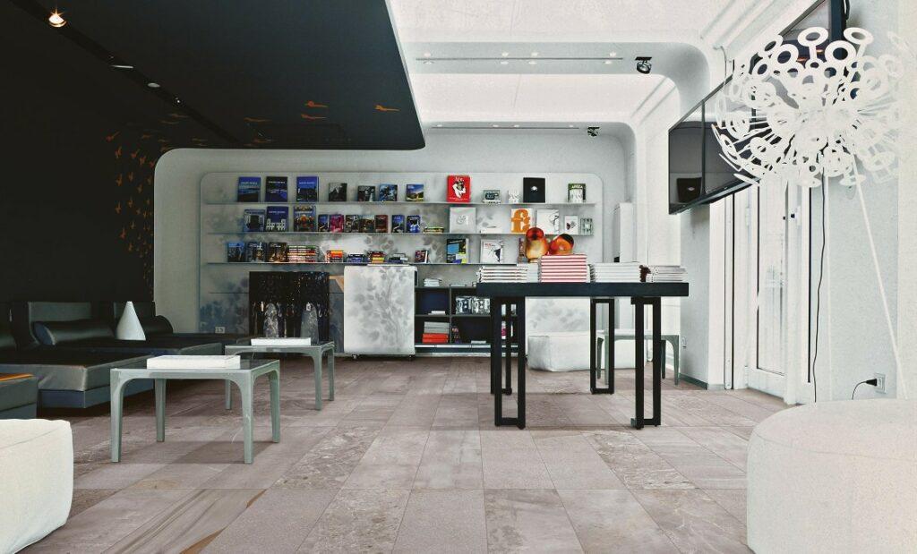Jumble Cemento er godt egnet til offentlige og private rom 22,5 x 90 italienske betongeffektfliser