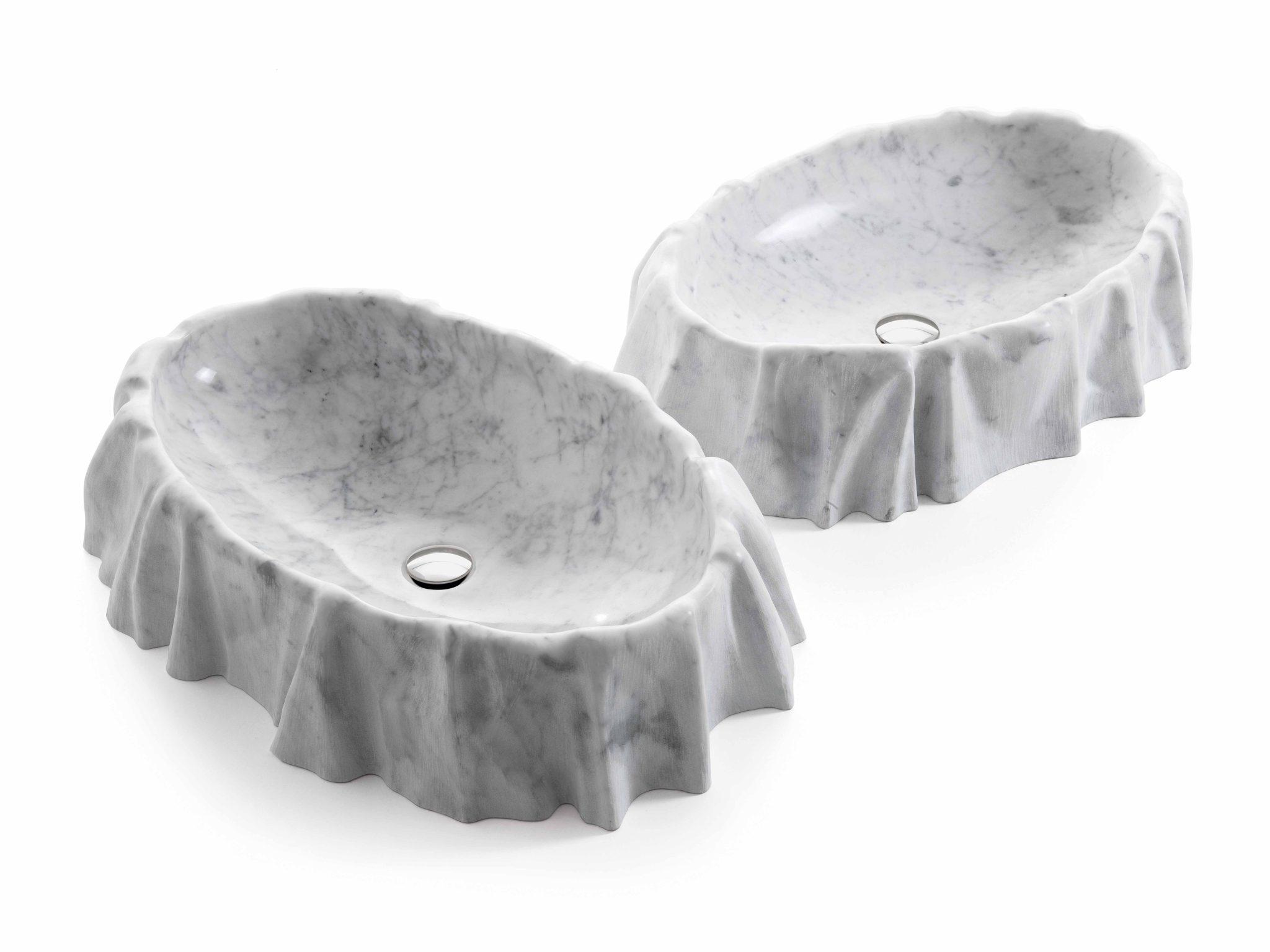 Nami vask i Banco Carrara marmor