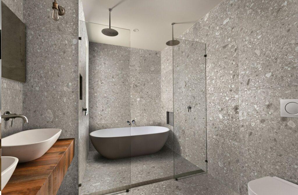 Terrazzo flis Ornamenta stile libero bella fliser norge drammen lier oslo tønsberg steineffekt badekar solid surface